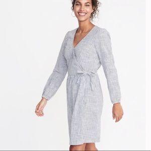 Old Navy Stripe Linen Wrap Dress; XXL